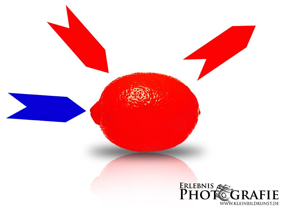Zitrone Rot - blaues und rotes Licht